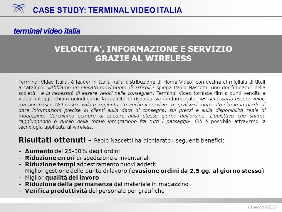 Diritti riservati ® 2007 Capecod Capecod © 2008 CASE STUDY: TERMINAL VIDEO ITALIA Terminal Video Italia, è leader in Italia nella distribuzione di Home Video, con decine di migliaia di titoli a catalogo.