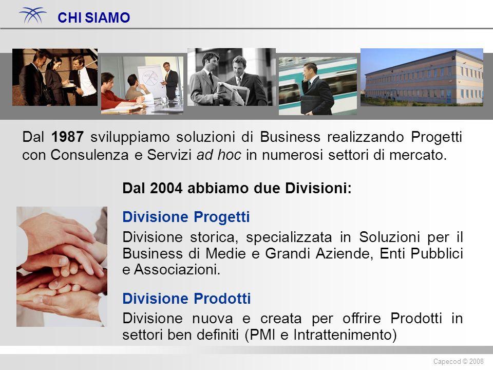 Diritti riservati ® 2007 Capecod Capecod © 2008 Dal 1987 sviluppiamo soluzioni di Business realizzando Progetti con Consulenza e Servizi ad hoc in numerosi settori di mercato.