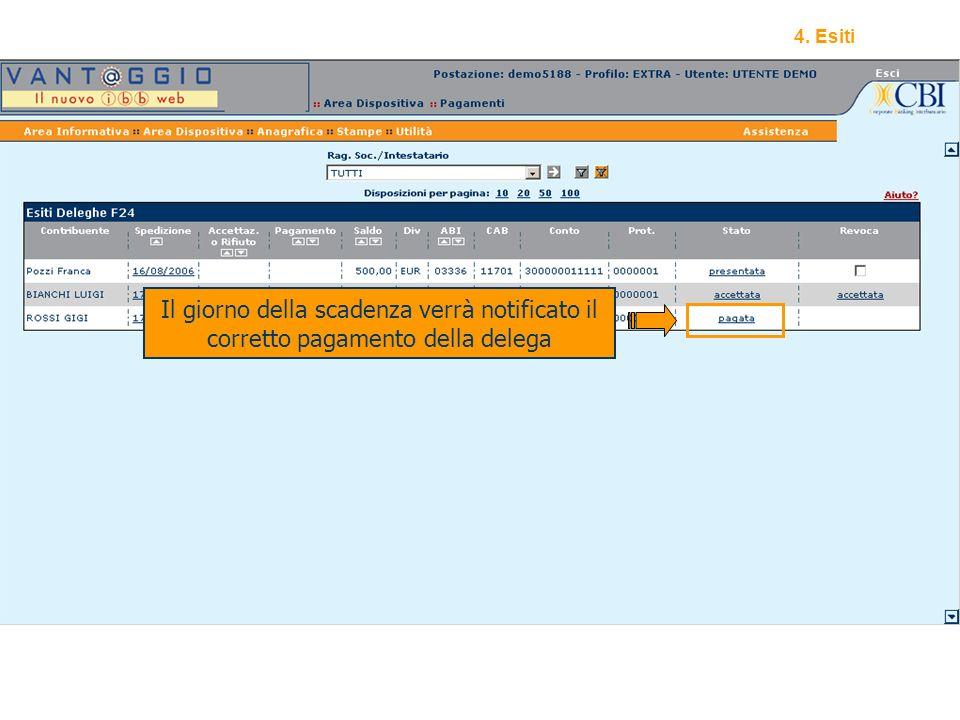 18 Il giorno della scadenza verrà notificato il corretto pagamento della delega 4. Esiti