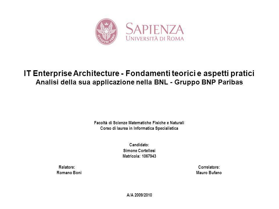 Piano della tesi LEnterprise Architecture Scenario e trend del mercato ICT bancario Lapproccio di urbanizzazione Lurbanizzazione del sistema IT della BNL Applicazione dei modelli in BNL
