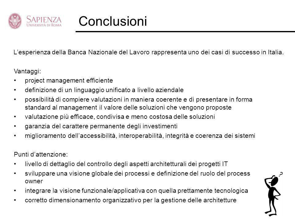Conclusioni Vantaggi: project management efficiente definizione di un linguaggio unificato a livello aziendale possibilità di compiere valutazioni in