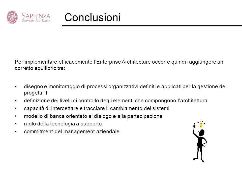 Conclusioni disegno e monitoraggio di processi organizzativi definiti e applicati per la gestione dei progetti IT definizione dei livelli di controllo