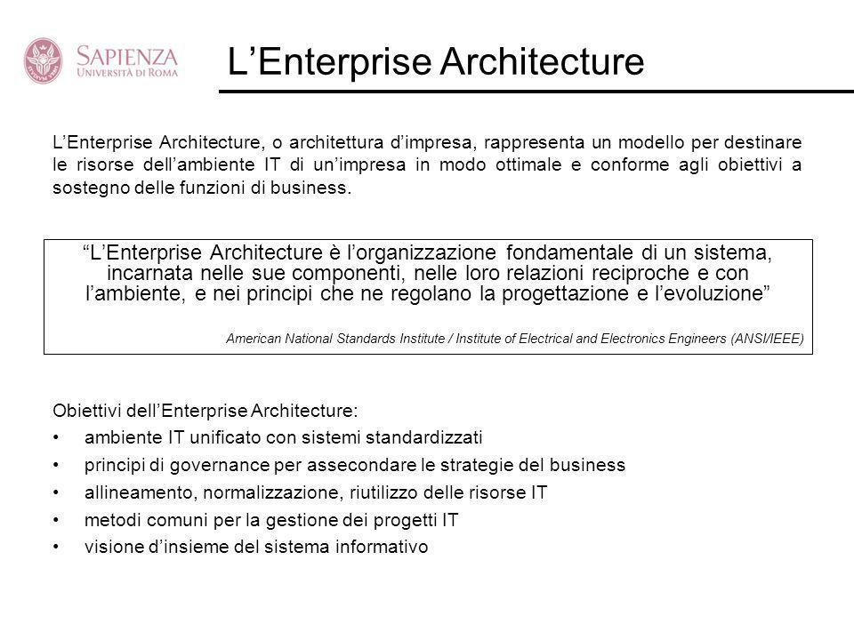 LEnterprise Architecture LEnterprise Architecture è lorganizzazione fondamentale di un sistema, incarnata nelle sue componenti, nelle loro relazioni r