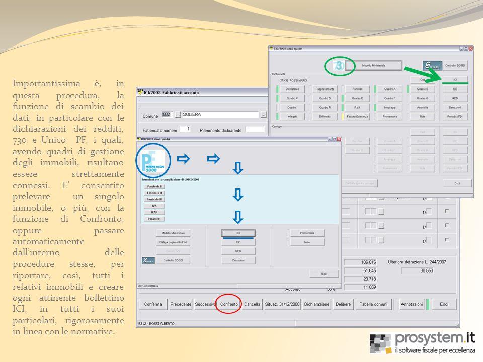 Importantissima è, in questa procedura, la funzione di scambio dei dati, in particolare con le dichiarazioni dei redditi, 730 e Unico PF, i quali, avendo quadri di gestione degli immobili, risultano essere strettamente connessi.