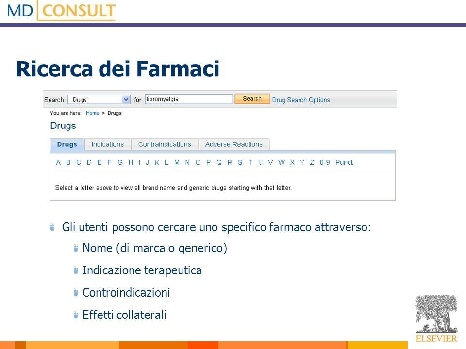 Ricerca dei Farmaci Gli utenti possono cercare uno specifico farmaco attraverso: Nome (di marca o generico) Indicazione terapeutica Controindicazioni Effetti collaterali