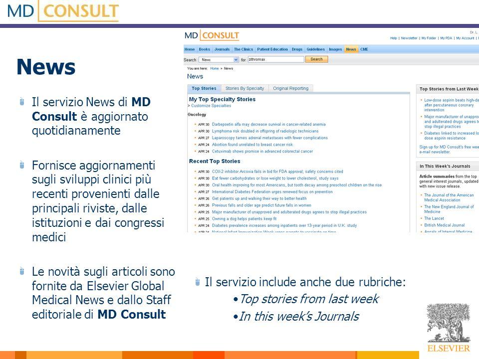 News Il servizio News di MD Consult è aggiornato quotidianamente Fornisce aggiornamenti sugli sviluppi clinici più recenti provenienti dalle principal