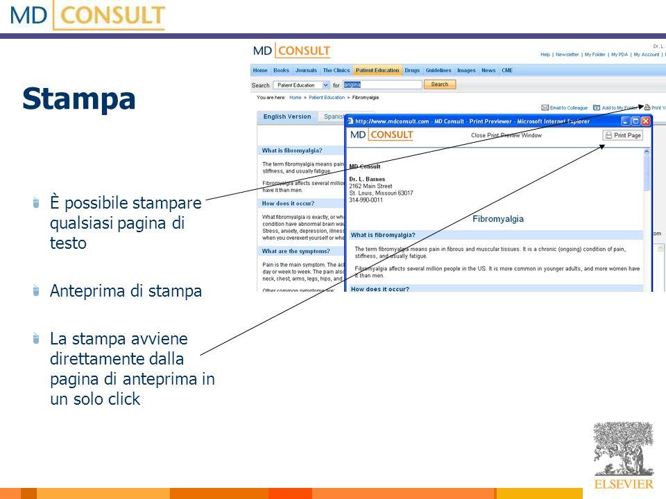Stampa È possibile stampare qualsiasi pagina di testo Anteprima di stampa La stampa avviene direttamente dalla pagina di anteprima in un solo click