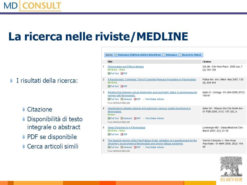I risultati della ricerca: Citazione Disponibilità di testo integrale o abstract PDF se disponibile Cerca articoli simili La ricerca nelle riviste/MEDLINE