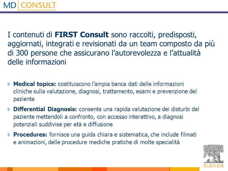 I contenuti di FIRST Consult sono raccolti, predisposti, aggiornati, integrati e revisionati da un team composto da più di 300 persone che assicurano
