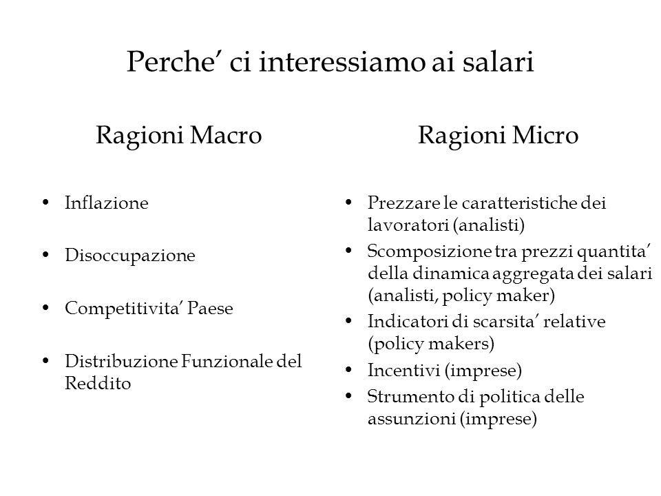 Perche ci interessiamo ai salari Ragioni Macro Inflazione Disoccupazione Competitivita Paese Distribuzione Funzionale del Reddito Ragioni Micro Prezza