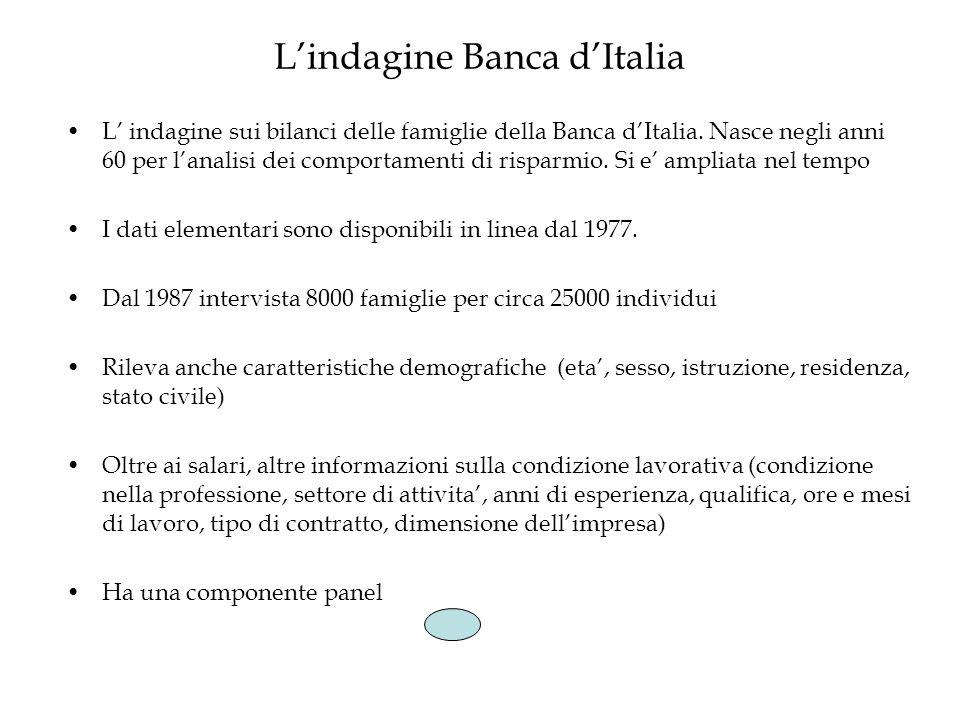 Lindagine Banca dItalia L indagine sui bilanci delle famiglie della Banca dItalia. Nasce negli anni 60 per lanalisi dei comportamenti di risparmio. Si