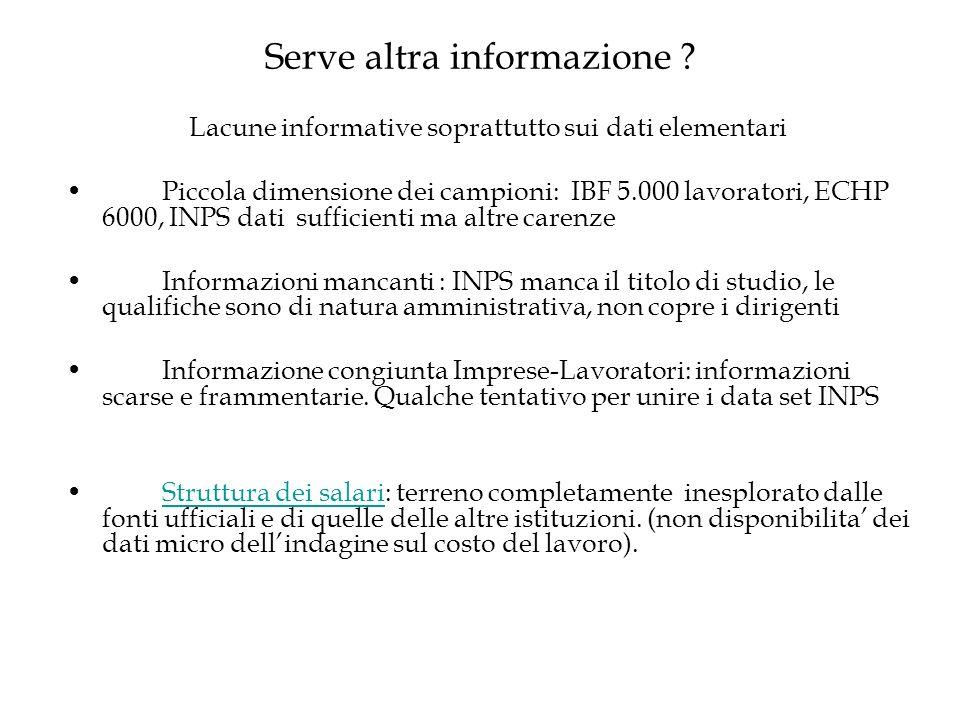 Serve altra informazione ? Lacune informative soprattutto sui dati elementari Piccola dimensione dei campioni: IBF 5.000 lavoratori, ECHP 6000, INPS d