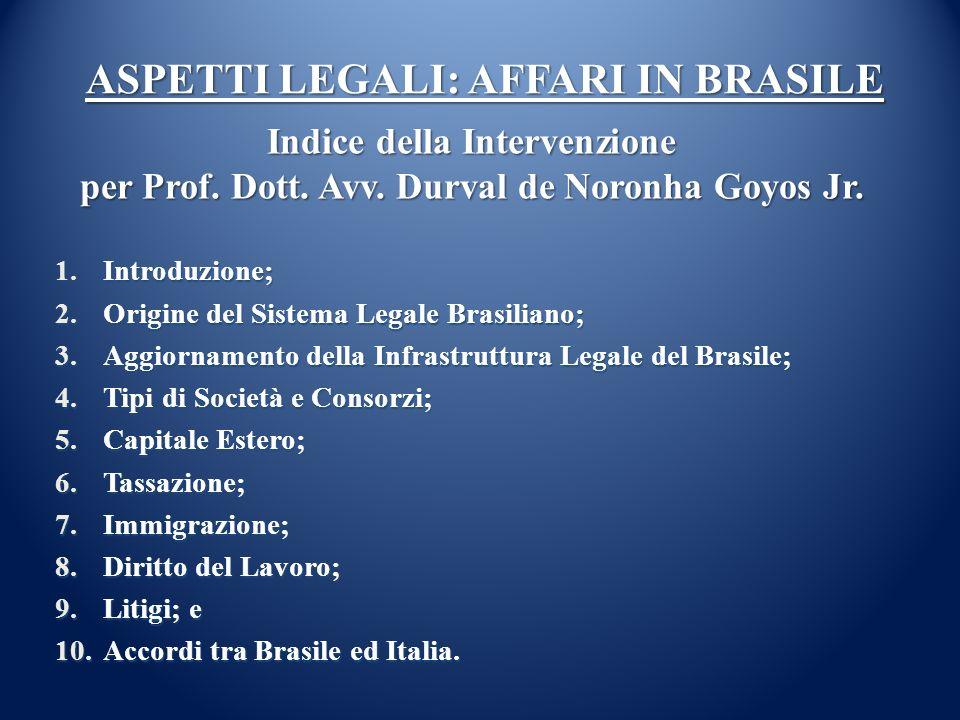ASPETTI LEGALI: AFFARI IN BRASILE 1.Introduzione; 2.Origine del Sistema Legale Brasiliano; 3.Aggiornamento della Infrastruttura Legale del Brasile; 4.