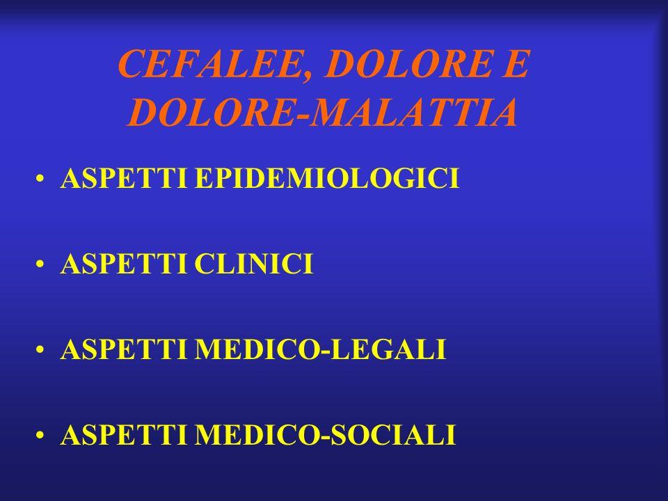 CEFALEE, DOLORE E DOLORE-MALATTIA ASPETTI EPIDEMIOLOGICI ASPETTI CLINICI ASPETTI MEDICO-LEGALI ASPETTI MEDICO-SOCIALI