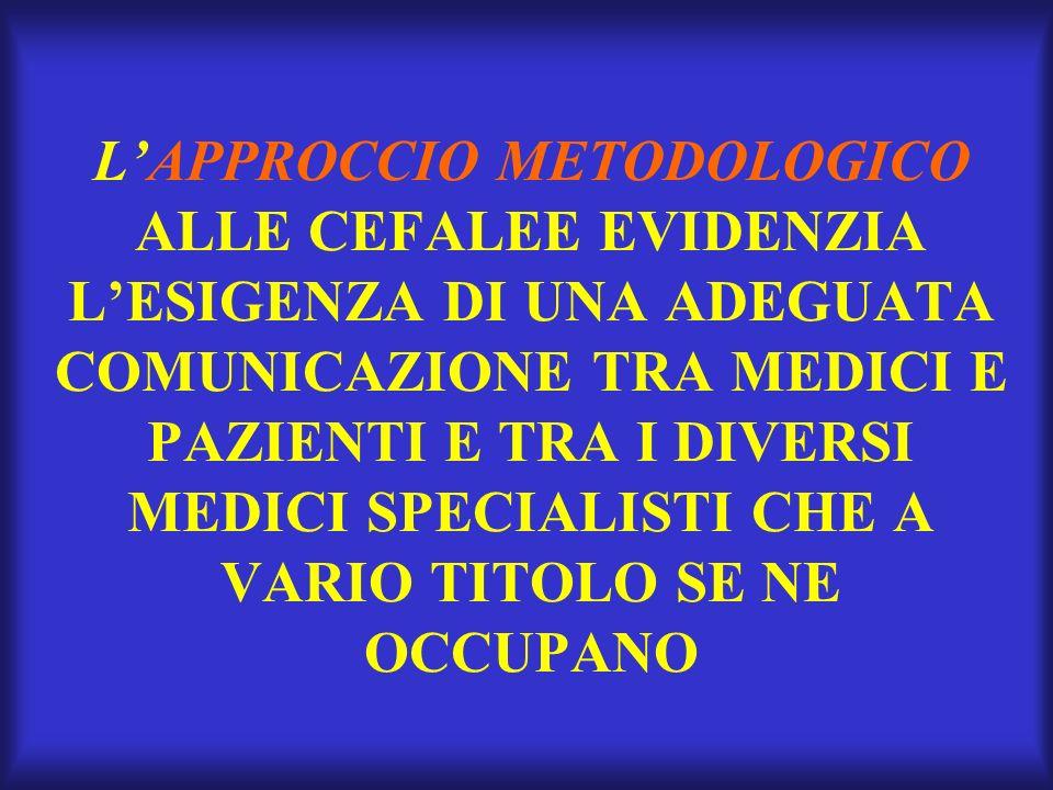LAPPROCCIO METODOLOGICO ALLE CEFALEE EVIDENZIA LESIGENZA DI UNA ADEGUATA COMUNICAZIONE TRA MEDICI E PAZIENTI E TRA I DIVERSI MEDICI SPECIALISTI CHE A VARIO TITOLO SE NE OCCUPANO