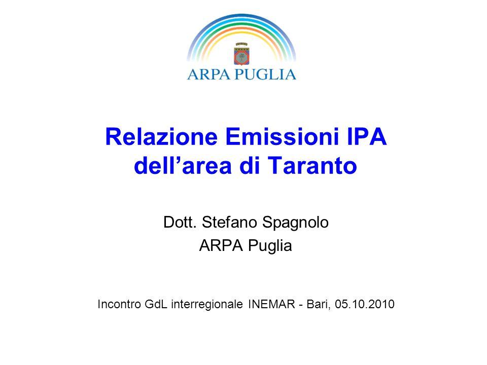Relazione Emissioni IPA dellarea di Taranto Dott. Stefano Spagnolo ARPA Puglia Incontro GdL interregionale INEMAR - Bari, 05.10.2010