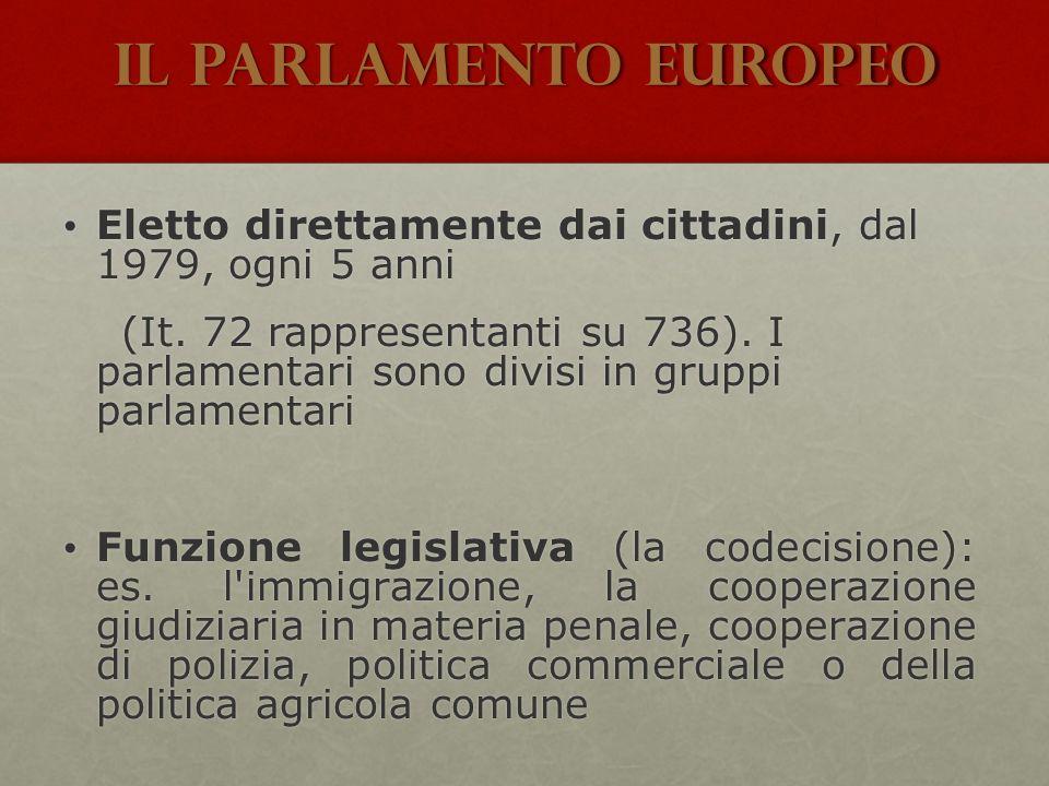 Il Parlamento Europeo Eletto direttamente dai cittadini, dal 1979, ogni 5 anni Eletto direttamente dai cittadini, dal 1979, ogni 5 anni (It. 72 rappre