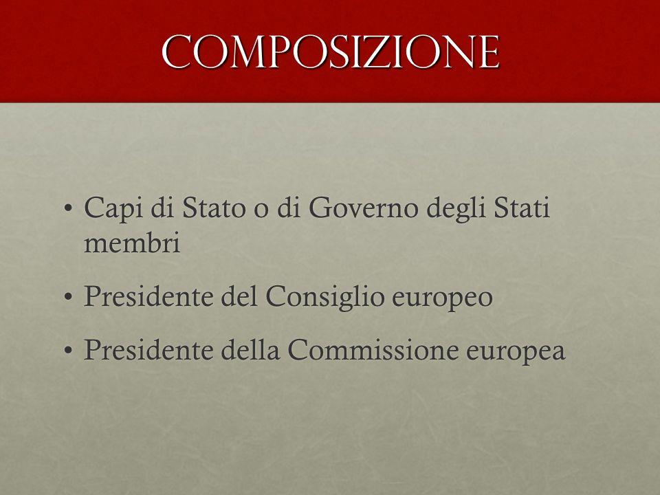 COMPOSIZIONE Capi di Stato o di Governo degli Stati membriCapi di Stato o di Governo degli Stati membri Presidente del Consiglio europeoPresidente del Consiglio europeo Presidente della Commissione europeaPresidente della Commissione europea