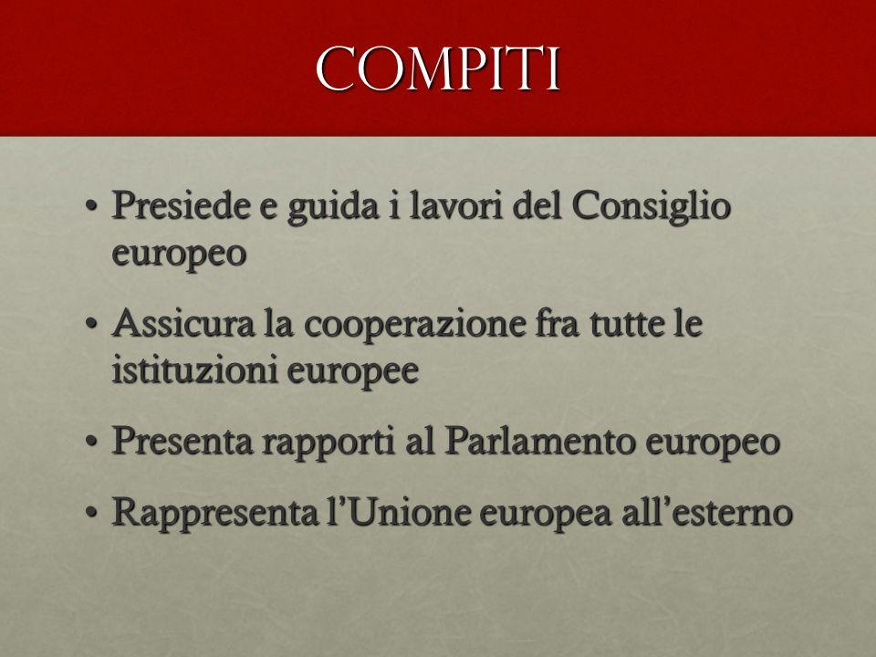 COMPITI Presiede e guida i lavori del Consiglio europeoPresiede e guida i lavori del Consiglio europeo Assicura la cooperazione fra tutte le istituzio