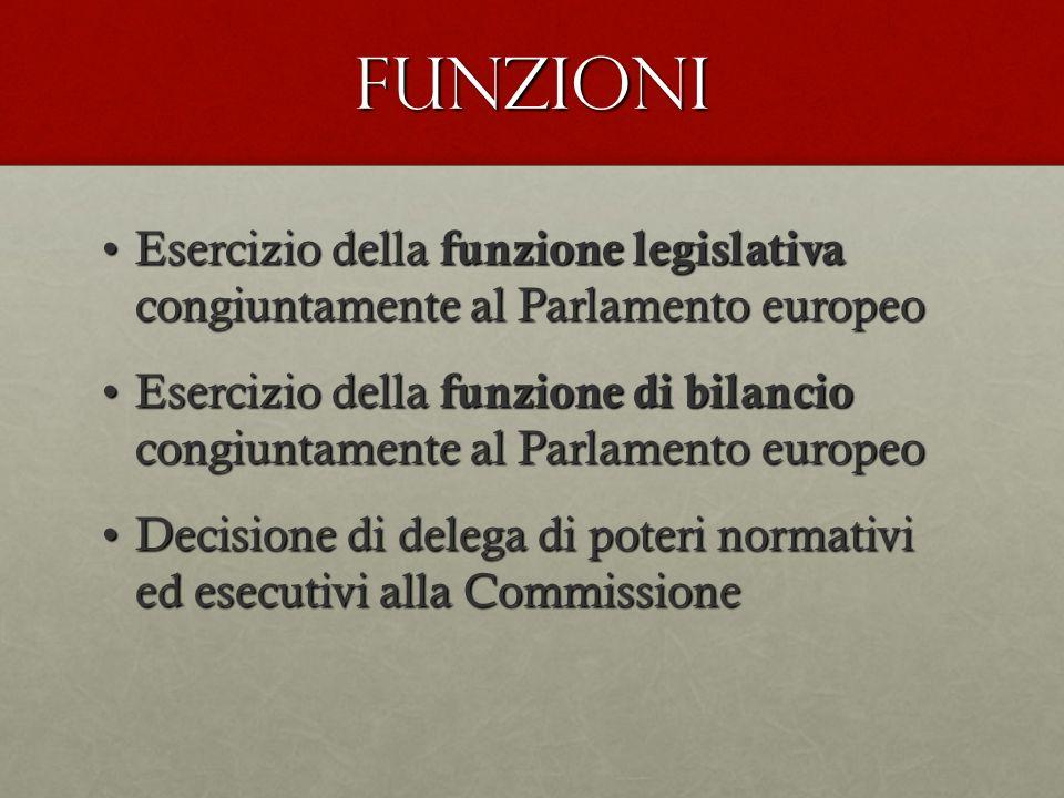 FUNZIONI Esercizio della funzione legislativa congiuntamente al Parlamento europeoEsercizio della funzione legislativa congiuntamente al Parlamento eu