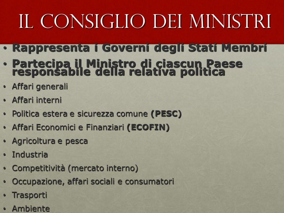 Il Consiglio dei ministri Rappresenta i Governi degli Stati Membri Rappresenta i Governi degli Stati Membri Partecipa il Ministro di ciascun Paese res