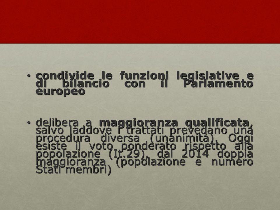 condivide le funzioni legislative e di bilancio con il Parlamento europeo condivide le funzioni legislative e di bilancio con il Parlamento europeo delibera a maggioranza qualificata, salvo laddove i trattati prevedano una procedura diversa (unanimità).