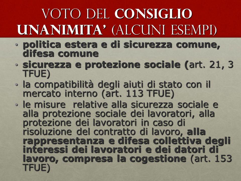 voto del Consiglio UNANIMITA (alcuni esempi) politica estera e di sicurezza comune, difesa comune politica estera e di sicurezza comune, difesa comune sicurezza e protezione sociale (art.