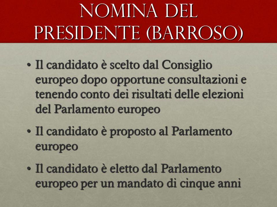 NOMINA DEL PRESIDENTE (Barroso) Il candidato è scelto dal Consiglio europeo dopo opportune consultazioni e tenendo conto dei risultati delle elezioni