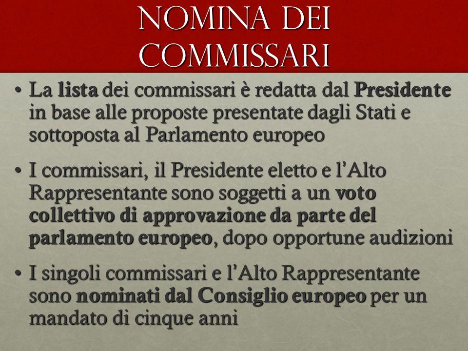 NOMINA DEI COMMISSARI La lista dei commissari è redatta dal Presidente in base alle proposte presentate dagli Stati e sottoposta al Parlamento europeo