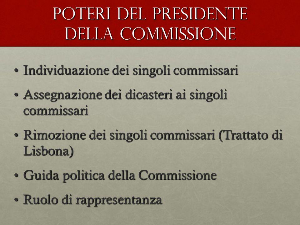 POTERI DEL PRESIDENTE DELLA COMMISSIONE Individuazione dei singoli commissariIndividuazione dei singoli commissari Assegnazione dei dicasteri ai singo