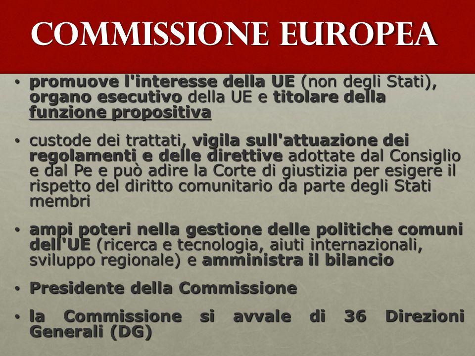 Commissione Europea promuove l'interesse della UE (non degli Stati), organo esecutivo della UE e titolare della funzione propositiva promuove l'intere