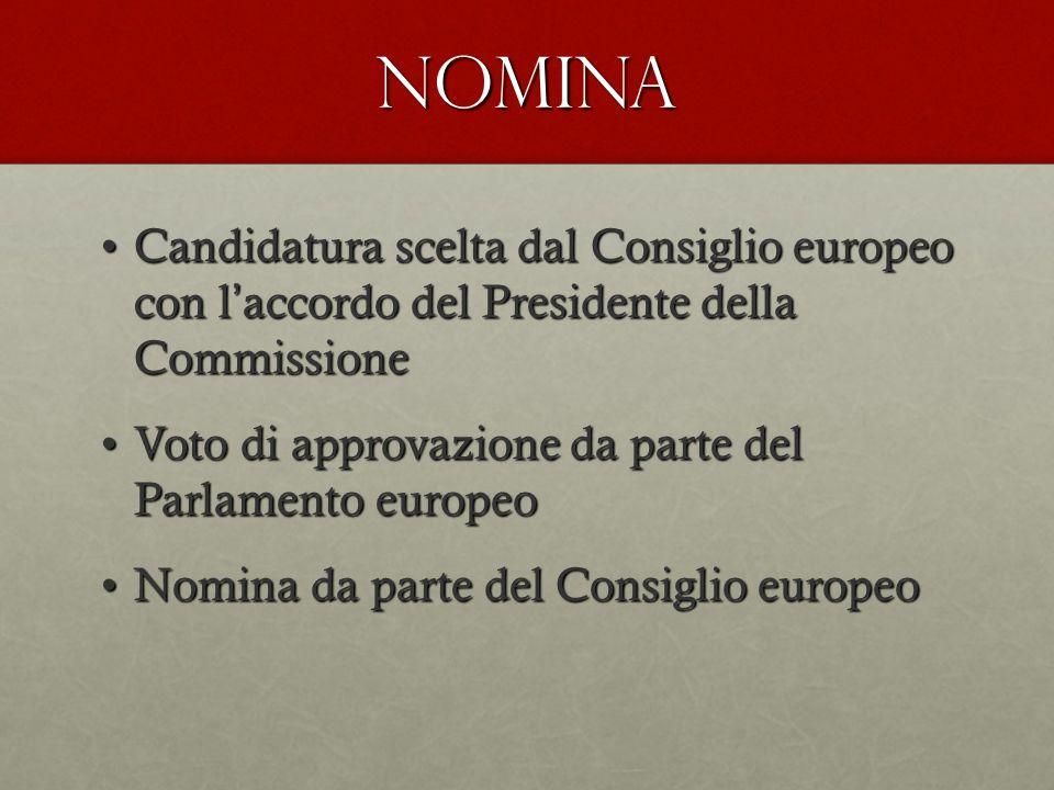 NOMINA Candidatura scelta dal Consiglio europeo con l accordo del Presidente della CommissioneCandidatura scelta dal Consiglio europeo con l accordo d