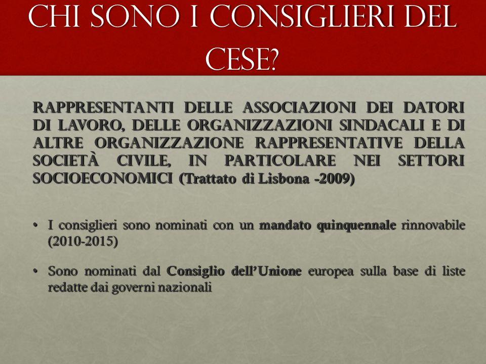 Chi sono i consiglieri del CESE? Rappresentanti delle Associazioni dei datori di lavoro, delle Organizzazioni Sindacali e di altre Organizzazione rapp