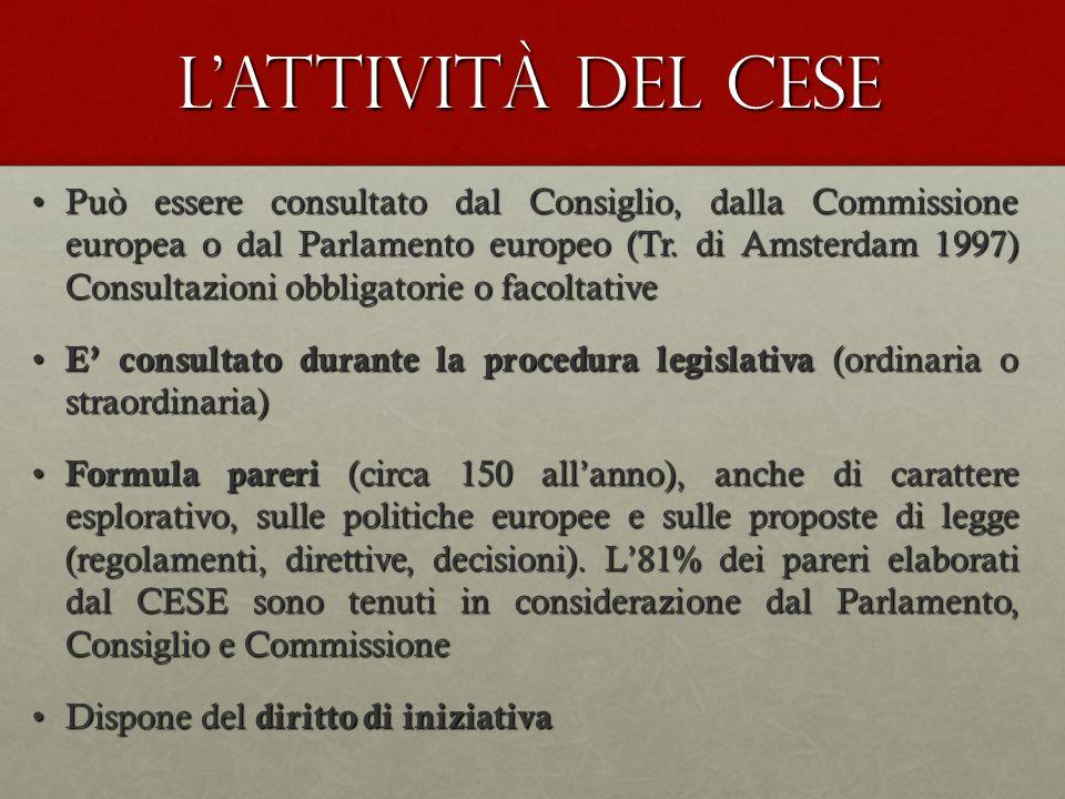 Lattività del CESE Può essere consultato dal Consiglio, dalla Commissione europea o dal Parlamento europeo (Tr. di Amsterdam 1997) Consultazioni obbli