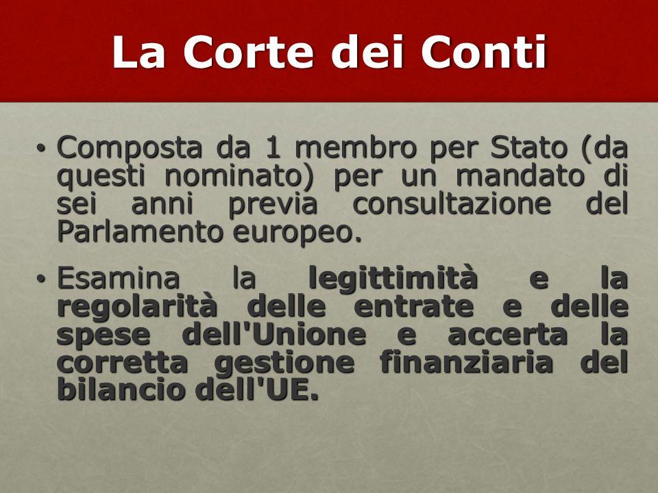 La Corte dei Conti Composta da 1 membro per Stato (da questi nominato) per un mandato di sei anni previa consultazione del Parlamento europeo. Compost