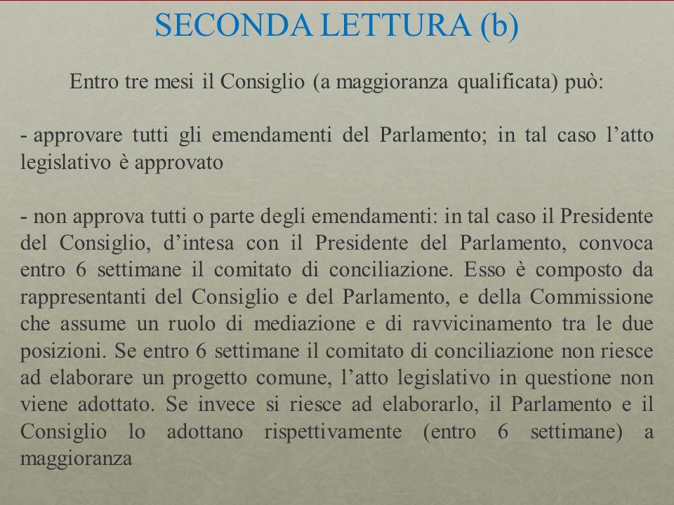 SECONDA LETTURA (b) Entro tre mesi il Consiglio (a maggioranza qualificata) può: - approvare tutti gli emendamenti del Parlamento; in tal caso latto l