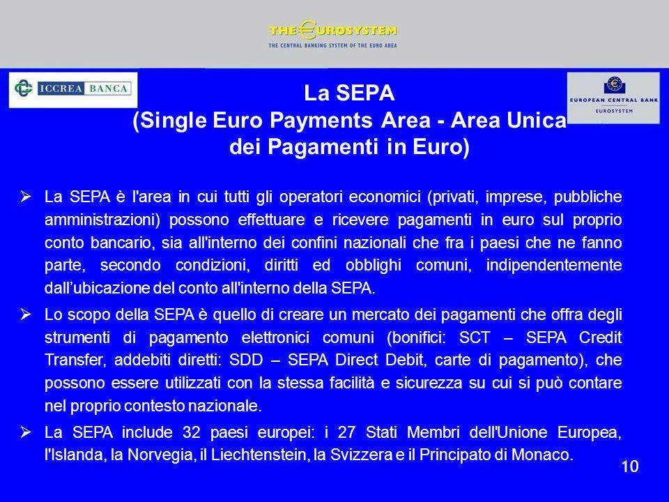 10 La SEPA è l'area in cui tutti gli operatori economici (privati, imprese, pubbliche amministrazioni) possono effettuare e ricevere pagamenti in euro