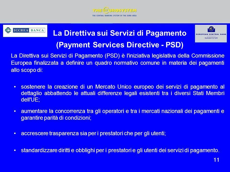 La Direttiva sui Servizi di Pagamento (Payment Services Directive - PSD) La Direttiva sui Servizi di Pagamento (PSD) è l'iniziativa legislativa della