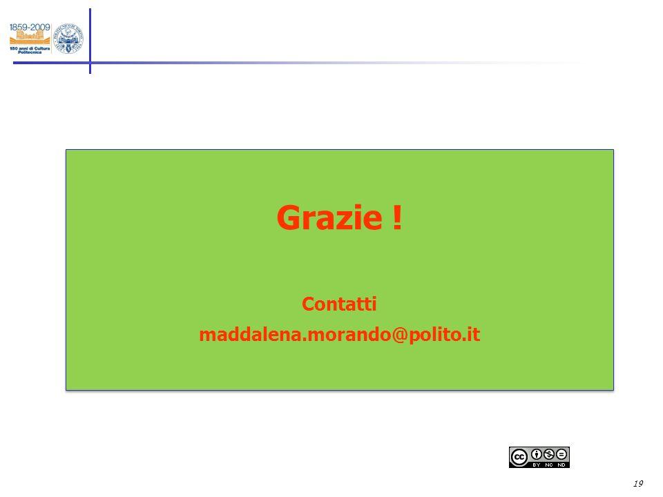 19 Grazie ! Contatti maddalena.morando@polito.it Grazie ! Contatti maddalena.morando@polito.it