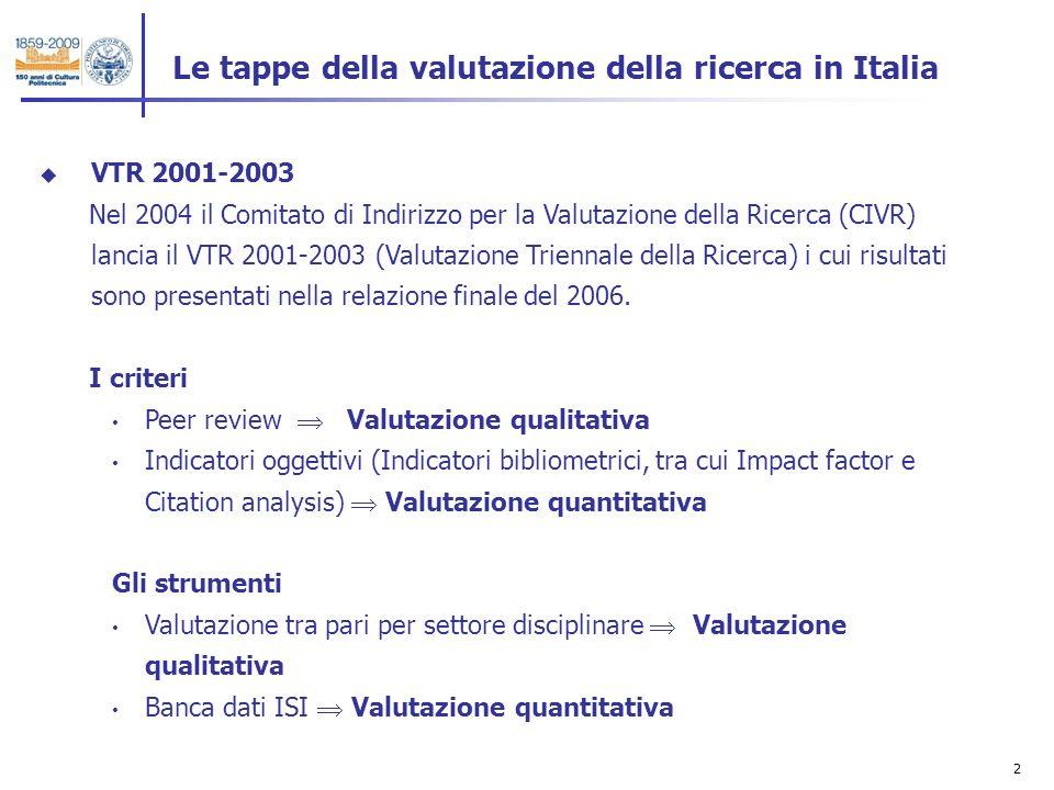 3 Le tappe della valutazione della ricerca in Italia VQR 2004-2008 Nel 2010 il MIUR assegna al CIVR il compito si avviare il VQR 2004-2008 (Valutazione Quinquennale della Ricerca).