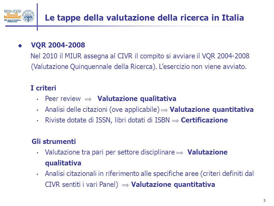 4 Le tappe della valutazione della ricerca in Italia VQR 2004-2010 Nel 2011 lAgenzia Nazionale per la Valutazione del Sistema Universitario della Ricerca (ANVUR) il compito si avviare il VQR 2004-2008 (Valutazione della Qualità della Ricerca).