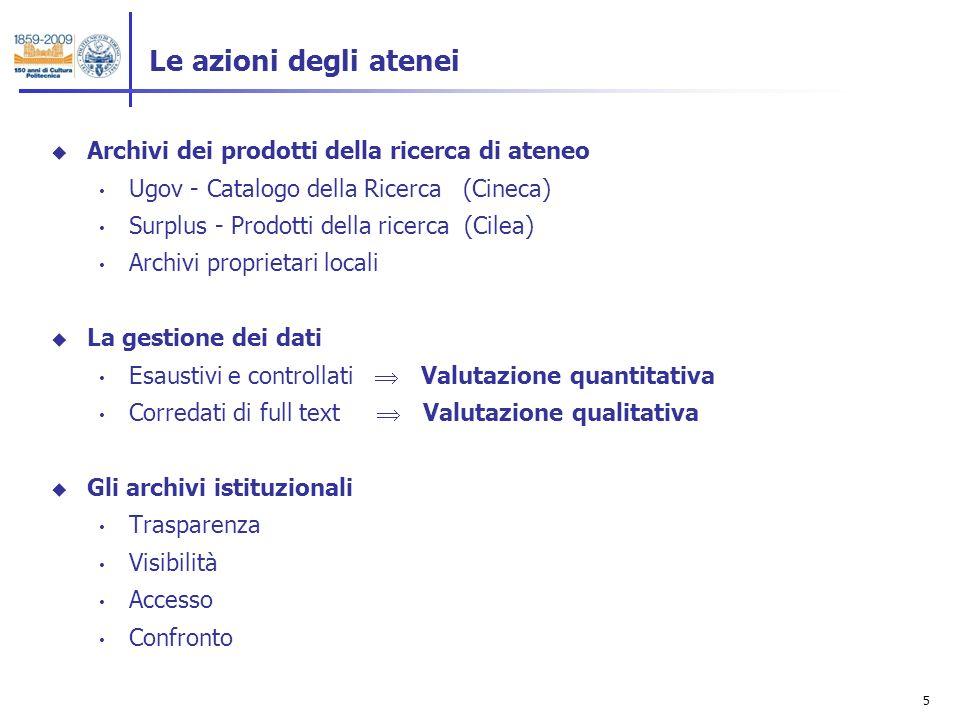6 Catalogo dei prodotti della ricerca Valutazione Archivio istituzionale Valutazione interna Open Access Archivi istituzionali: i flussi Valutazione ministeriale Visibilità Confronto 1.
