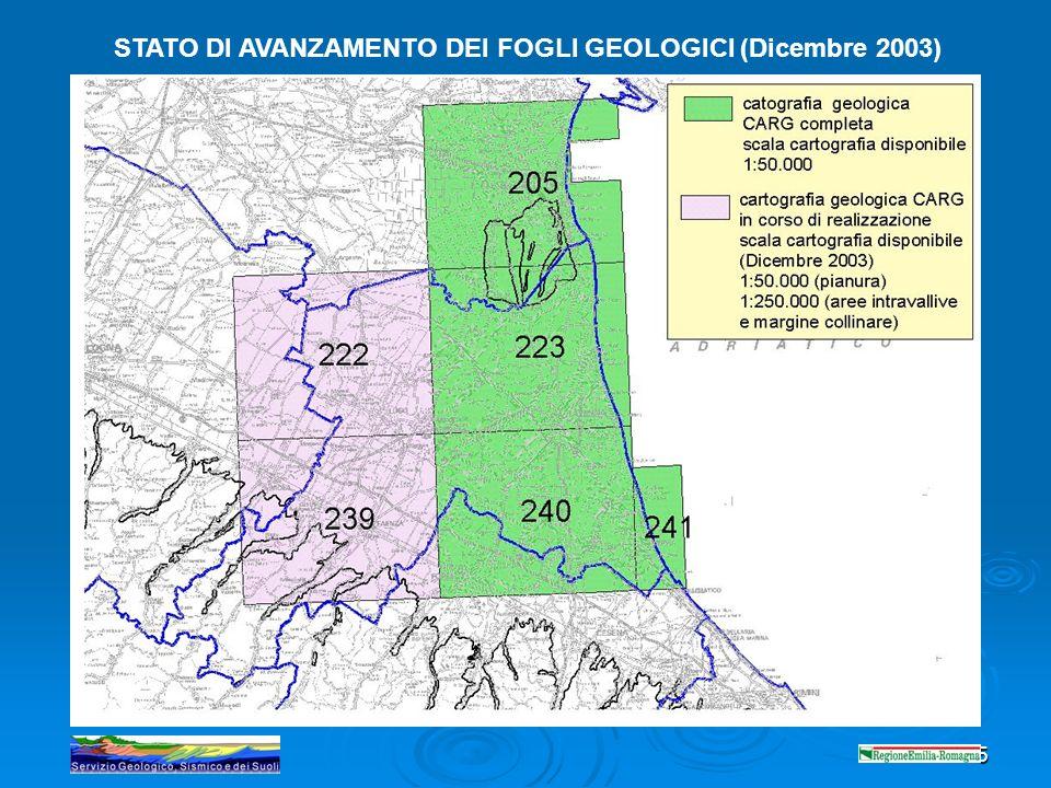 5 STATO DI AVANZAMENTO DEI FOGLI GEOLOGICI (Dicembre 2003)