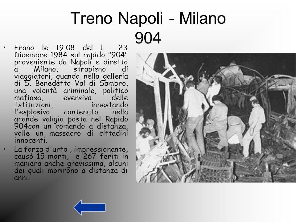 Treno Napoli - Milano 904 Erano le 19,08 del l 23 Dicembre 1984 sul rapido