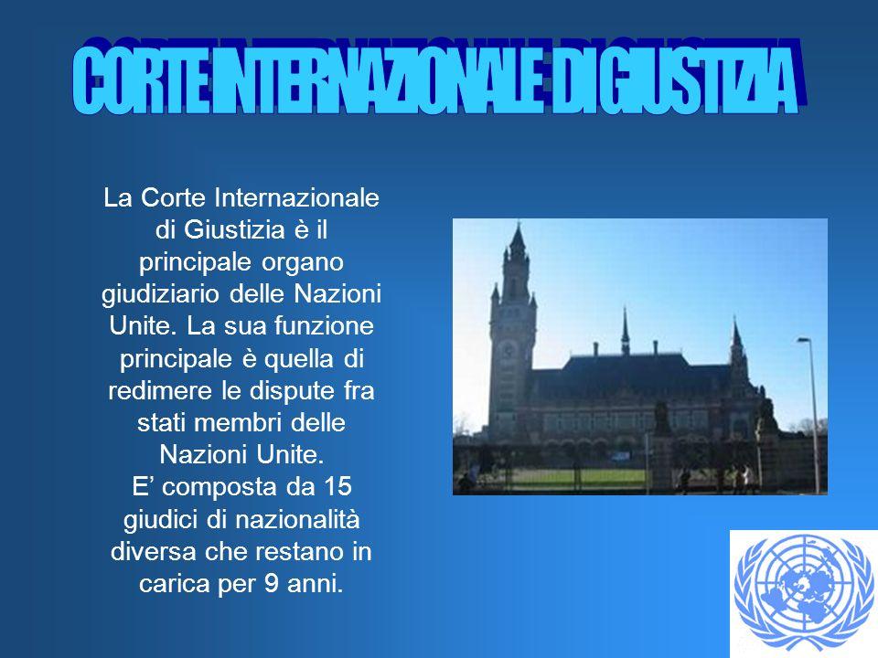La Corte Internazionale di Giustizia è il principale organo giudiziario delle Nazioni Unite. La sua funzione principale è quella di redimere le disput