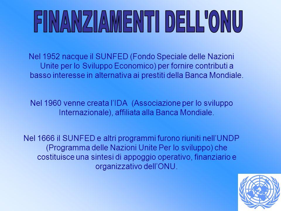 Nel 1952 nacque il SUNFED (Fondo Speciale delle Nazioni Unite per lo Sviluppo Economico) per fornire contributi a basso interesse in alternativa ai pr