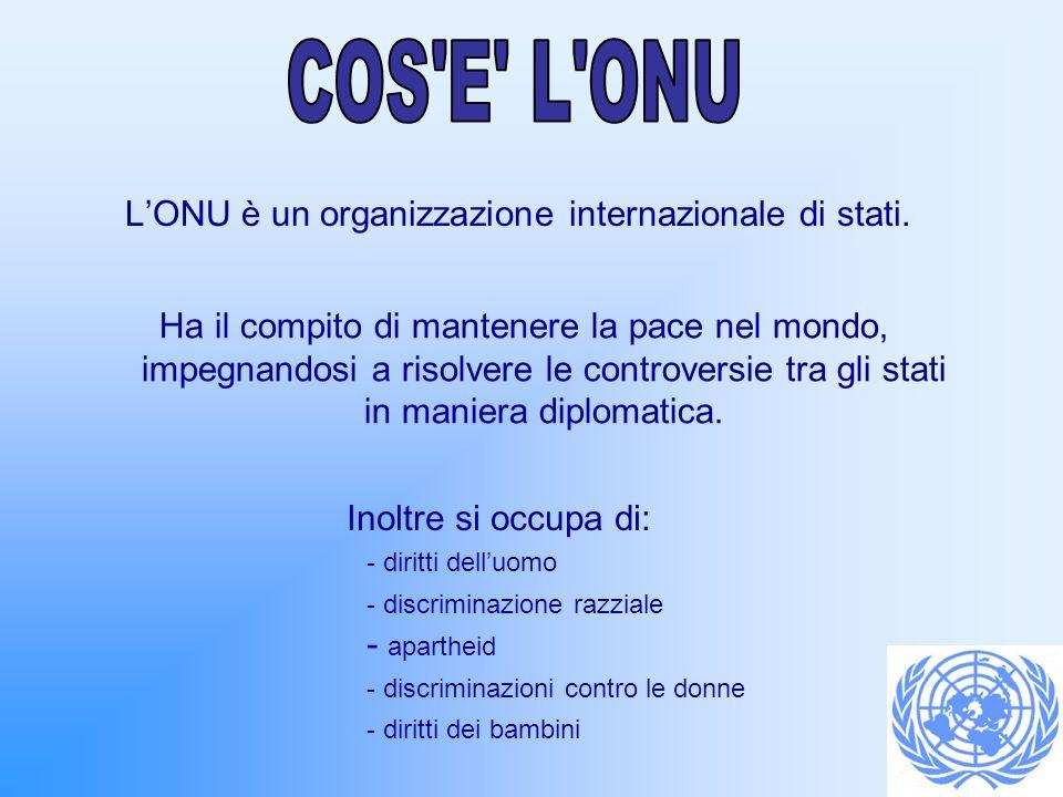 LONU è un organizzazione internazionale di stati. Ha il compito di mantenere la pace nel mondo, impegnandosi a risolvere le controversie tra gli stati