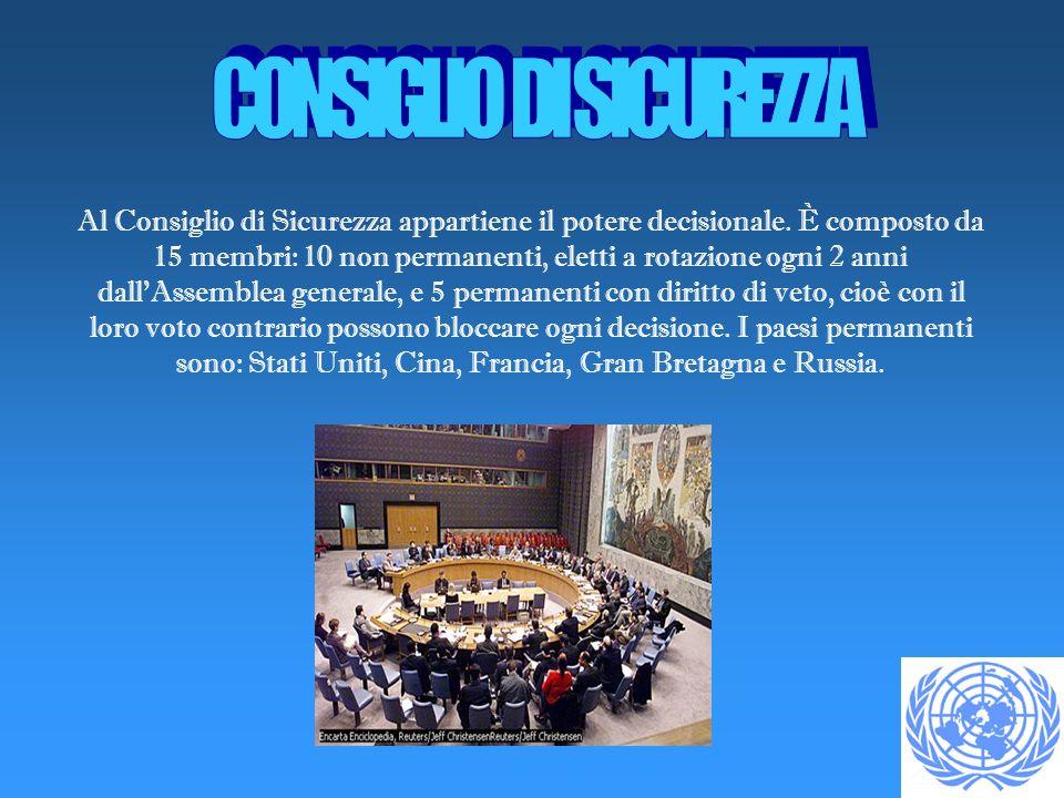 Al Consiglio di Sicurezza appartiene il potere decisionale. È composto da 15 membri: 10 non permanenti, eletti a rotazione ogni 2 anni dallAssemblea g