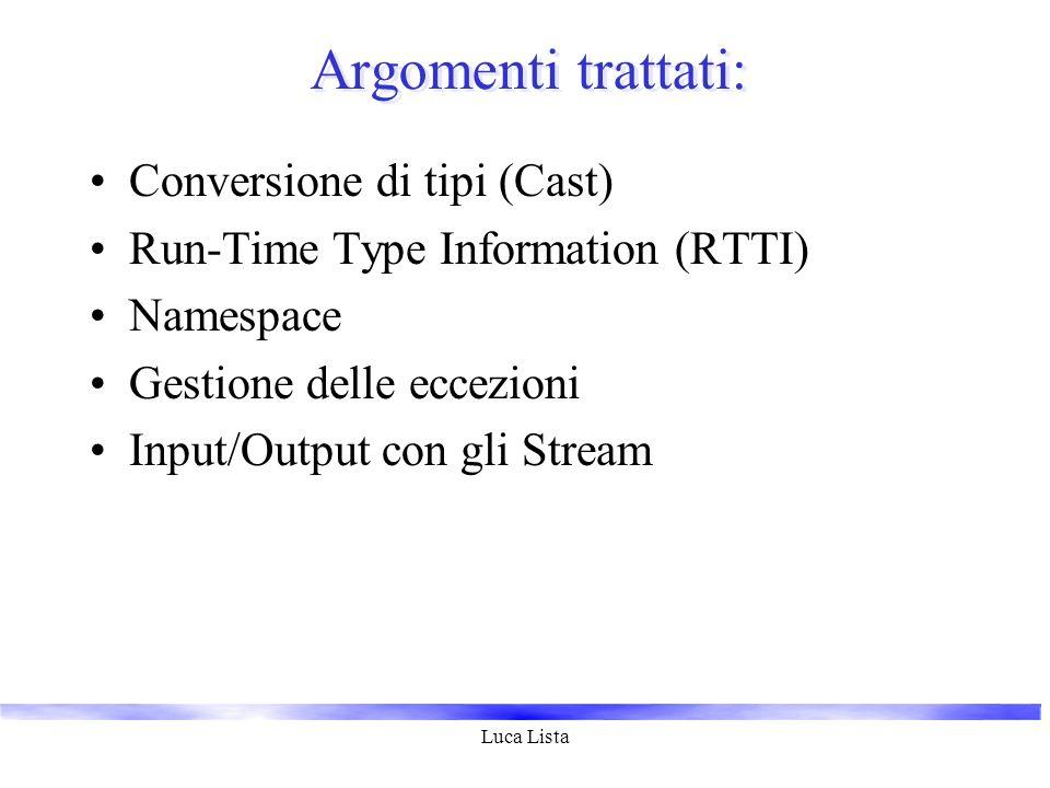 Luca Lista Argomenti trattati: Conversione di tipi (Cast) Run-Time Type Information (RTTI) Namespace Gestione delle eccezioni Input/Output con gli Str