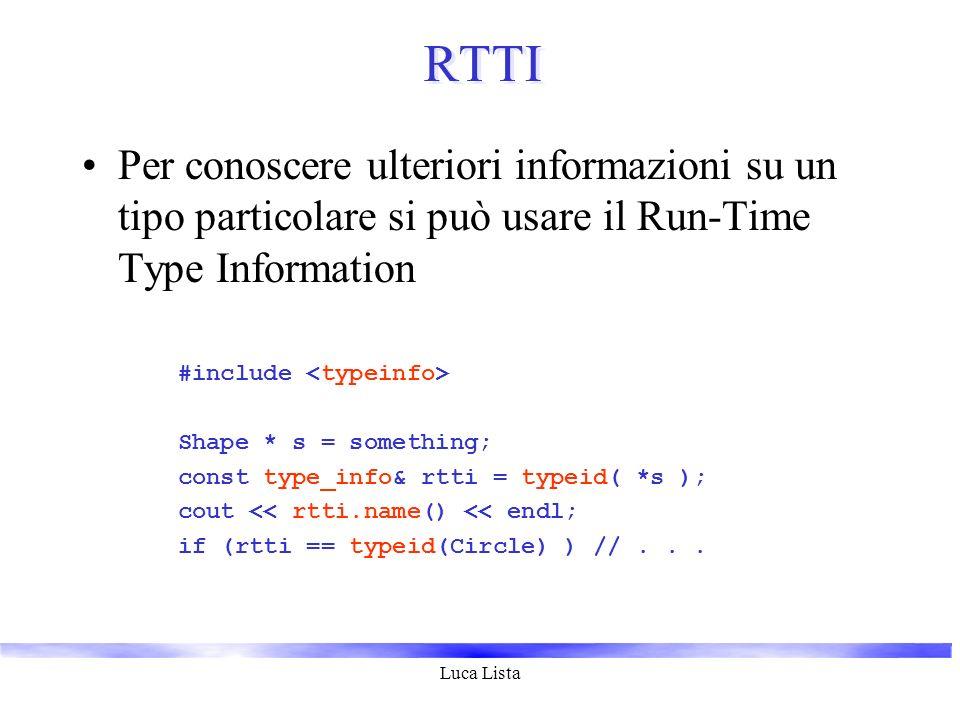 Luca Lista RTTI Per conoscere ulteriori informazioni su un tipo particolare si può usare il Run-Time Type Information #include Shape * s = something;